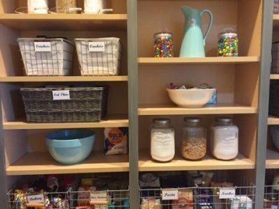 A kitchen pantry neatly organized